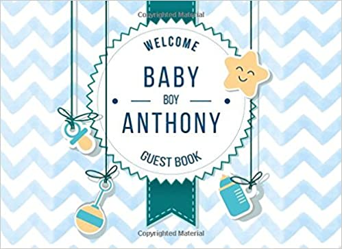 Buy anthony welcome baby boy guest book customized guest book buy anthony welcome baby boy guest book customized guest book with gift log for baby shower party personalized baby shower guest book book online at negle Choice Image