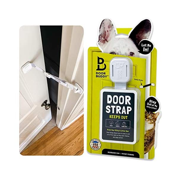 Door Buddy Adjustable Door Strap and Latch – Grey. Dog Proof Litter Box The Easy Way. No Need for Pet Gates or Interior…