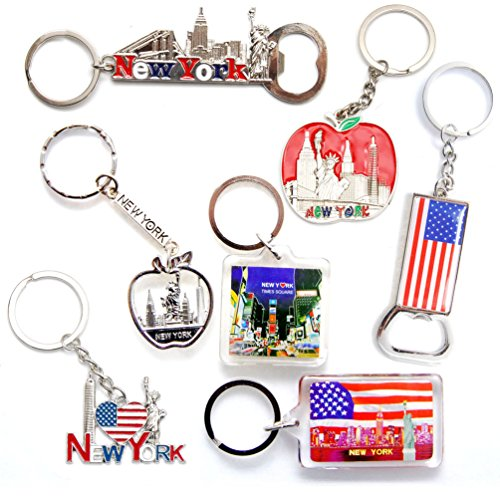 New York NYC NY Keychain Metal Key Ring Bundle Souvenir Gift Set 1 - Statue of Liberty,Empire State Building & More (Type B)