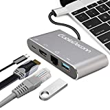 CableDeconn Thunderbolt 3 USB Type-c hub HDMI Gigabit Ethernet RJ45 USB3.0 USB C Charging 4in1 Adapter Cable Converter for 2017 Macbook Pro Dell XPS (Gray)