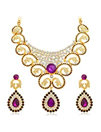 Indian Necklace Jewelry Set Bollywood Fashion Bridal Fabulous Gold AD Choker For Women