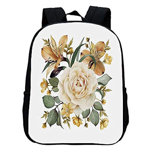 (Rose Fashion Kindergarten Shoulder Bag,Romantic Floral Arrangement Bridal Bouquet Corsage Spring Wedding Theme Decorative For Hiking,One_Size)