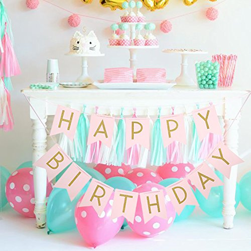 Pastel Glitter Gold Pink Happy Birthday Bunting Flag Banner Party