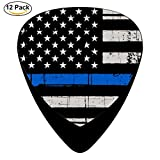 STREMUSIC America Flag Blue Line Celluloid Electric Guitar Picks 12-pack Plectrums For Bass Music Tool