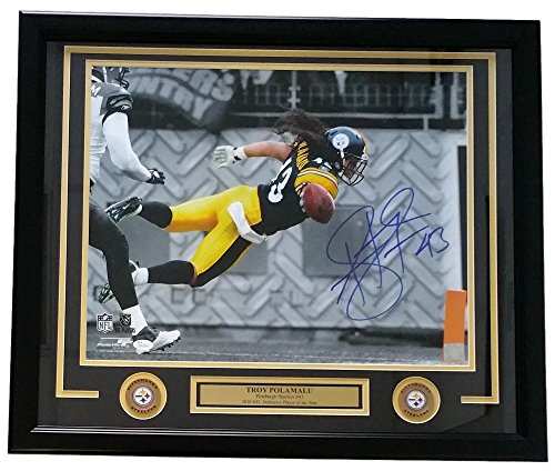 Sports Integrity 19266 Troy Polamalu Signed Framed Photo Pittsburgh Steelers Dive Highlight - JSA - 16 x 20