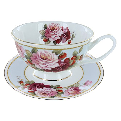 Peony and Strawberry Blue Bone China - Teacup and Saucer Set of 4