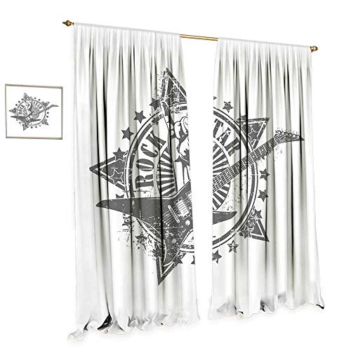 cobeDecor Guitar Window Curtain Fabric Stars with Rock Sign Monochrome Musical Instrument Design Rockstar Life Singing Drapes for Living Room W108 x L96 Pale Grey White ()