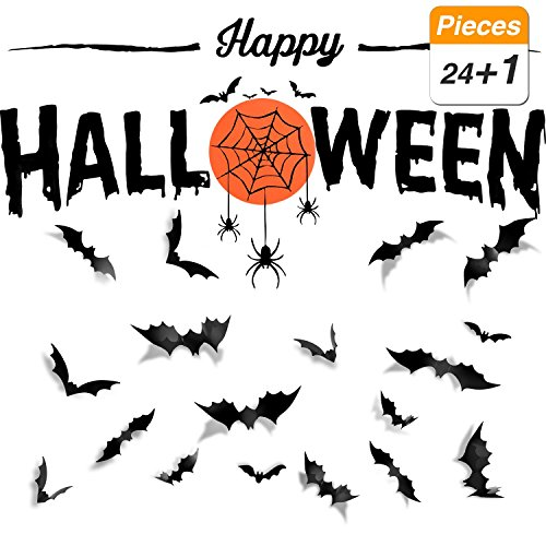 SATINIOR 25 Pieces DIY Happy Halloween Decorations Black PVC 3D Bat Stickers Halloween Bats and Spider Wall Decals Wall Sticker for Home Window, Display Window Decorative Party Supplies Set for $<!--$9.99-->