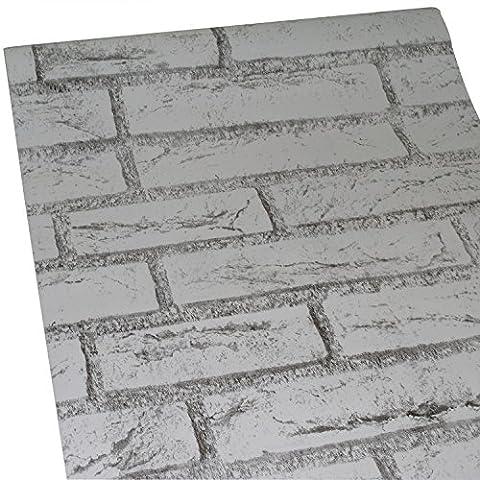ZeroStage Retro White Brick Wallpaper Roll Multi Color Blocks Home Room Decoration Wall Sticker (White (Washable Wallpaper)