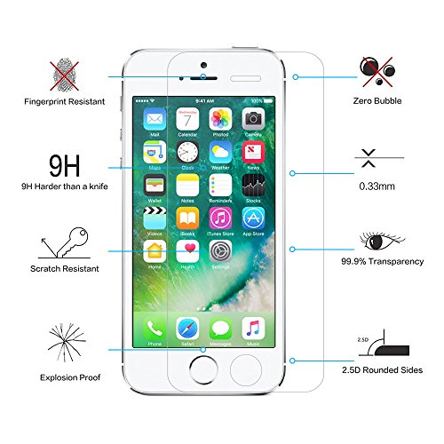3 Pack- Glass Screen Protector for iPhone 5S / 5 / 5C / SE, CNXUS Tempered Glass Screen Protector for iPhone 5S, Anti Fingerprint, 3D Touch Compatible, Oil Stain Scratch Coating, Ultra Clear Film