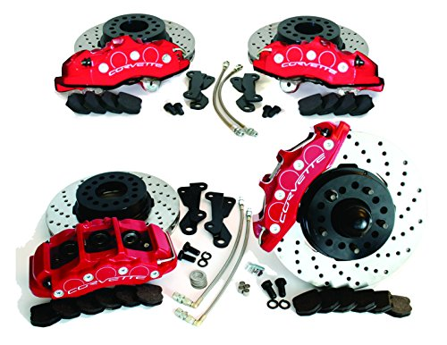 SpeedDirect 780-42569 Shark Bite C6 Z06 Front & Rear Disc Brake Upgrade Kit with Red Corvette Logo Calipers & Cross Drilled Rotors for C5 & C6 Corvette