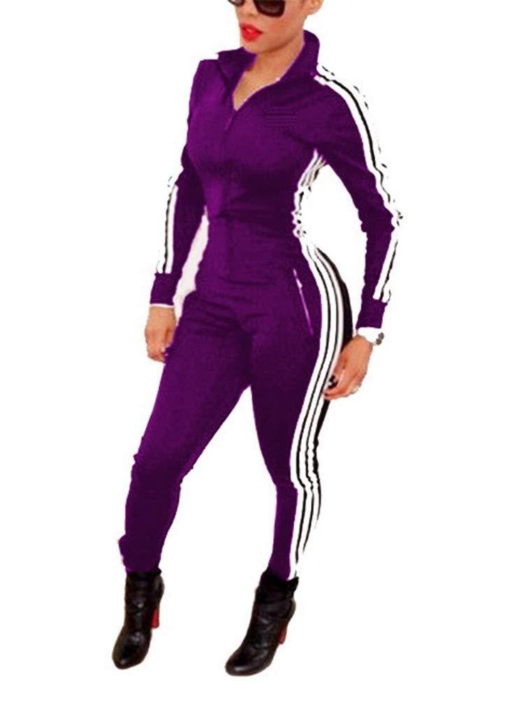 Lealac Women's Short Sleeve Zip Up Sport Bodycon Jumpsuit Romper Zentai Unitard Romper L97-Jumpsuit Purple S