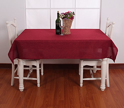 - Deconovo Decorative Solid Color Table Cover Faux Linen Tablecloth Water Resistant Rectangle Table Cloth for Weddings 60W x 120L Inch Red