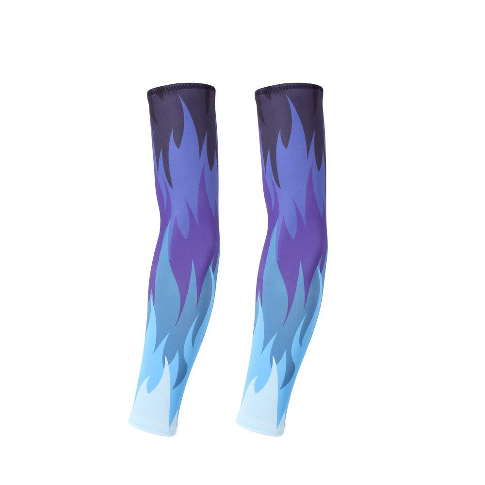 Motionx 1 Pair UV Protection Arm Sleeves Flame Designs Anti-Slip Baseball Football Basketball Sports Sun Protection Arm (Blue Flame, Onesize)