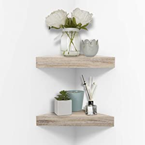 AHDECOR Rustic Wood Corner Wall Shelves, Wall Mounted Floating Corner Shelf for Home Décor, 2-Pack