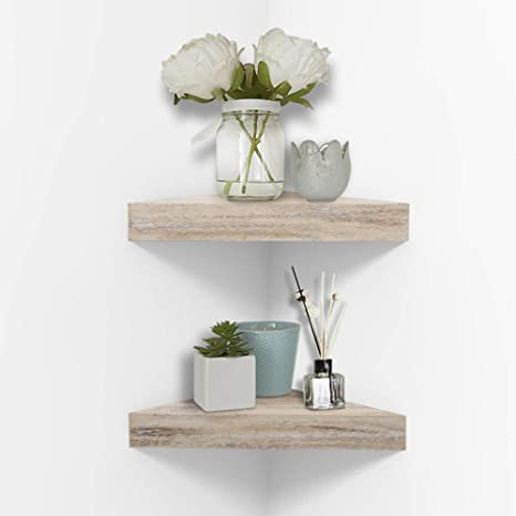 Amazon Com Ahdecor Rustic Wood Corner Wall Shelves Wall Mounted Floating Corner Shelf For Home Decor 2 Pack Kitchen Dining