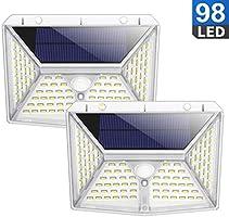 Solarlampen für Außen, QTshine [98 LED 2000mAh] Solarleuchte Garten mit Bewegungsmelder, 270° Superhelle Solarlicht,...
