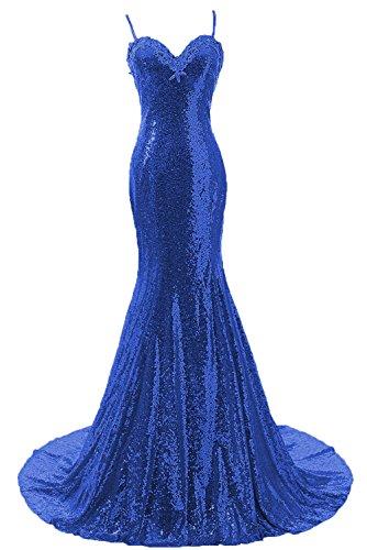 Abiti Donne Delle Sirena Damigella Reale Da Aperta Blu Posteriore Della Cinghie Dis Promenade Vestito Paillettes 5vBSfqf