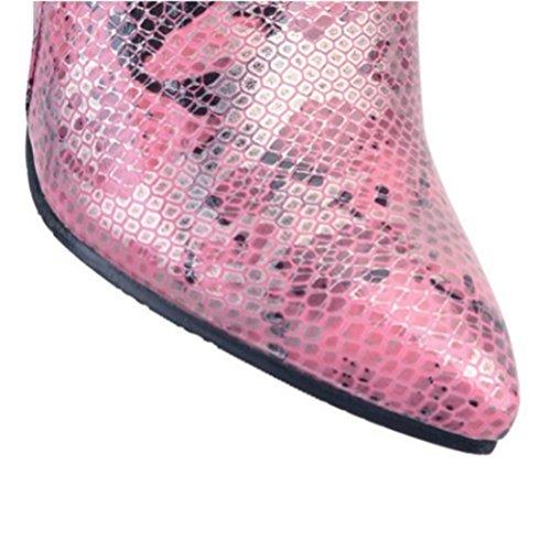 Cremallera lateral Mujeres QPYC Mujeres tamaño Short Boots de Pointy Shoes Martin pink Snake Stilettos Tube Boots Botas gran Short RwXqawY