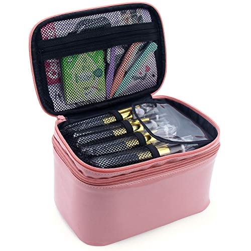Relavel 2 Layer Large Capacity Cosmetic Makeup Brush Organizer With Belt Strap Holder Multifunctional Makeup Bag for Travel Home (Pink)