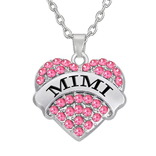 Kebaner MIMI Pink Crystal Heart Necklace Love Jewelry Gifts For - Mimi Pink