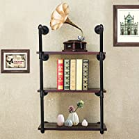Jeteven Wall Mount Industrial Iron Pipe Shelf Brackets, 3 Tiers DIY Storage Shelving Bookshelf Floating Shelf Holder (without Wood Plank)