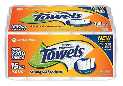 - Member's Mark Super Premium Paper Towels (15 rolls, 150 sheets per roll)