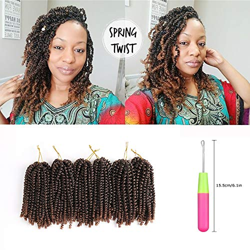 3Pcs 180 Roots(fold) Medium & Long Spring Twist Hair Pure/Ombre Colors Crochet Braids Synthetic Braiding Fluffy Hair Extensions Kanekalon Heat-Resistant Fiber (10