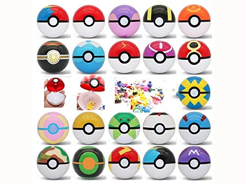 13pcs Pokemon Ball Poke Pokeball Figures Pop Toys Action Figure Pikachu Plus 24pcs Random Anime Figures (21 Balls/21 Figures)