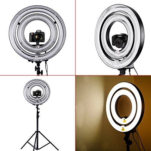 """Neewer 1000W Camera Dimmable Ring Flash Light Kit, Includes 18"""" Outer 600W 5500K Dimmable Ring Flash Light +14"""" Outer 400W 5500K Dimmable Ring Fluorescent Flash Light+9ft/260cm Light Stands"""