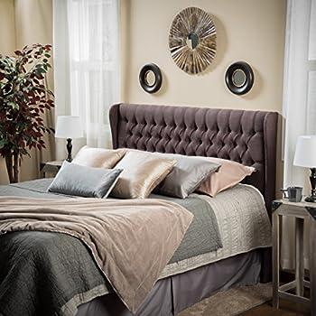 Great Deal Furniture Hempstead Wingback Queen to Full Brown Fabric Headboard