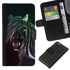 All Phone Most Case / Oferta Especial Cáscara Funda de cuero Monedero Cubierta de proteccion Caso / Wallet Case for Apple Iphone 5C // Horse Drawing Art Magic Animal Wild Free