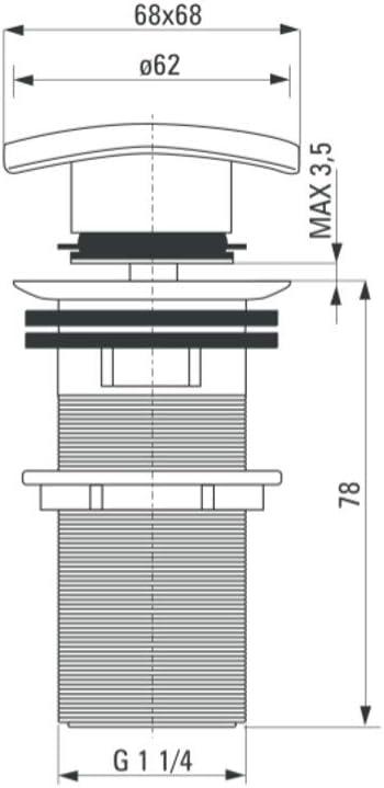 color negro conector de sif/ón Click Clack de lat/ón con v/álvula pop up con rebosadero para lavabo//lavabo 1 1//4 sif/ón V/álvula de desag/üe universal de alta calidad rectangular