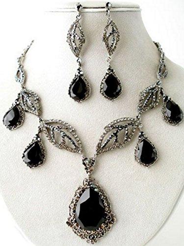 Luxe Statement Oversized Parure Boucles d'oreilles longues Chaîne Cristal zirconia Gris métallique Noir