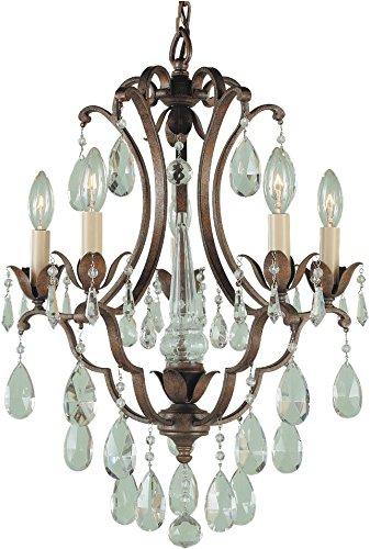 (Feiss F1882/5BRB Maison De Ville Crystal Candle Chandelier Lighting, Bronze, 5-Light (16