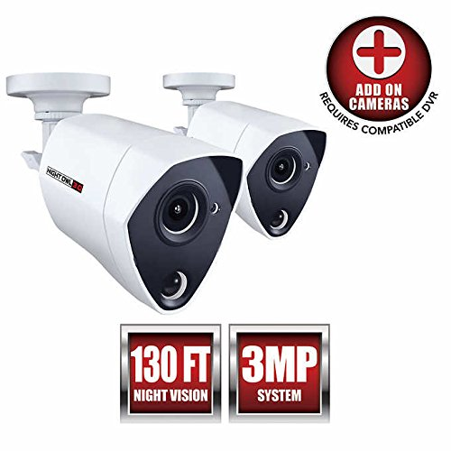 - Night Owl Security 2 Pack Add-on Extreme HD 3MP Dual Sensor Wired Infrared Camera (White)