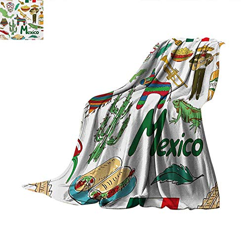 MexicanOffice Throwing blanketFun Colorful Sketch Artful, used for sale  Delivered anywhere in USA