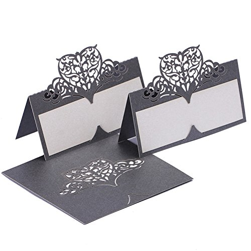 60pcs Table Name Place Cards Personalised Reception Decoration with Silver-Grey Lace Pattern Cardstock for Wedding Favors,Party ()