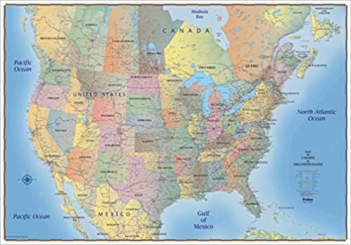 ProGeo Maps Trucker\'s Wall Map of Canada USA & Northern ...
