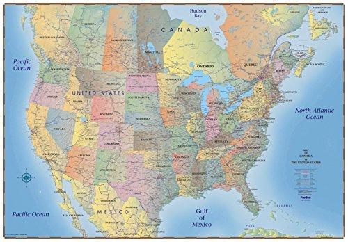ProGeo Maps Trucker\'s Wall Map of Canada USA & Northern ...