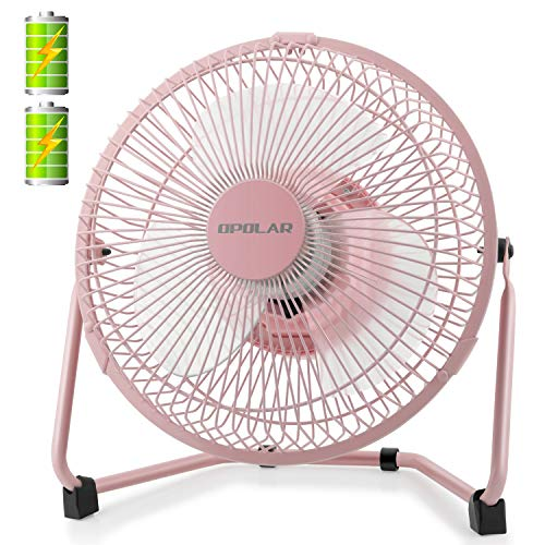 OPOLAR Battery Operated and USB Powered Rechargeable Desk Fan with Two Batteries, 9 Inch Metal Frame, Enhanced Airflow, Lower Noise, Two Speeds, Personal Cooling Fan for Home & Office - -