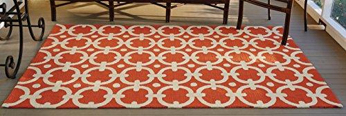 Park Designs Orange Geo Hooked Rug  5 X 8