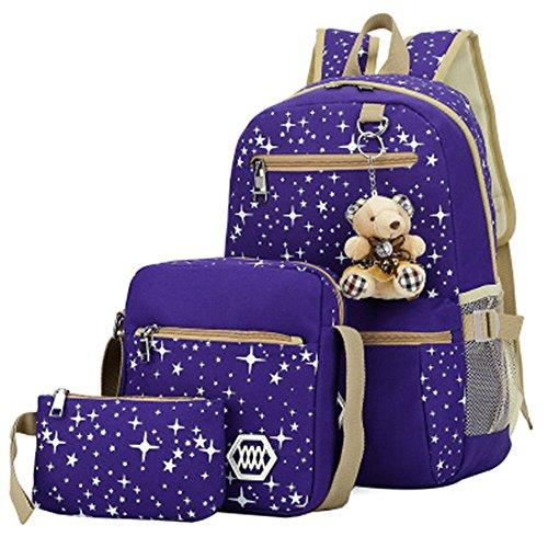DZRZVD 3 Pieces Set Lightweight Teen Girls School Laptop Backpack Canvas Shoulder ()