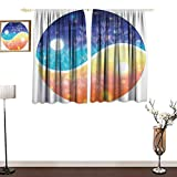 Jinguizi Apartment DecorCustom curtainYin Yang Symbol with Lights Beams Harmony of The Universe Gradient Tone ThemeDecor Curtains by W55 xL39 Multi