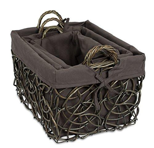 BirdRock Home Willow Double Handle Rectangular Wooden Basket Set with Liner, Charcoal Grey, Set of 3