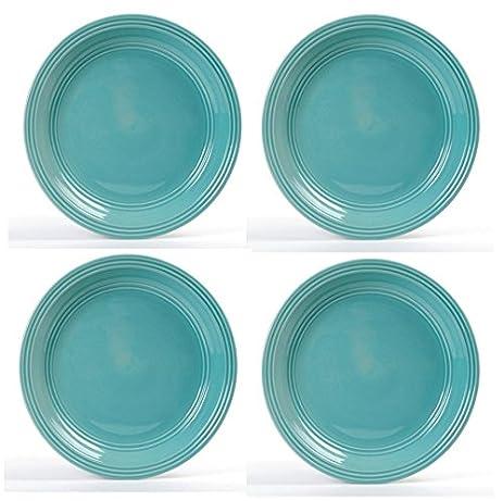 Set of 4 Mainstays Aqua Rain Forest Ceramic Dinner Plates 10-1/2 inch  sc 1 st  Amazon.com & Amazon.com | Set of 4 Mainstays Aqua Rain Forest Ceramic Dinner ...