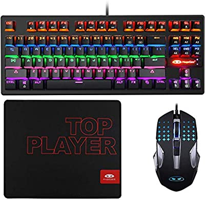 Mechanical Gaming Keyboard and Mouse Combo & Large Mouse Pad,Mechanical Keyboard 87 Keys Small Compact LED Backlit - MK1 Wired USB Gaming Keyboard with Blue Switches, for Windows PC Laptop Game ?-