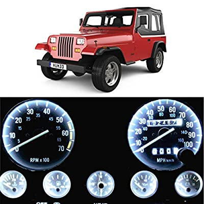 WLJH Bright White Instrument Cluster Panel Gauge Speedometer Tach Oil Pressure Fuel Temp Clock Indicator Bulb Full Led Light Kits Package Replacement for Jeep Wrangler 1987-1991: Automotive