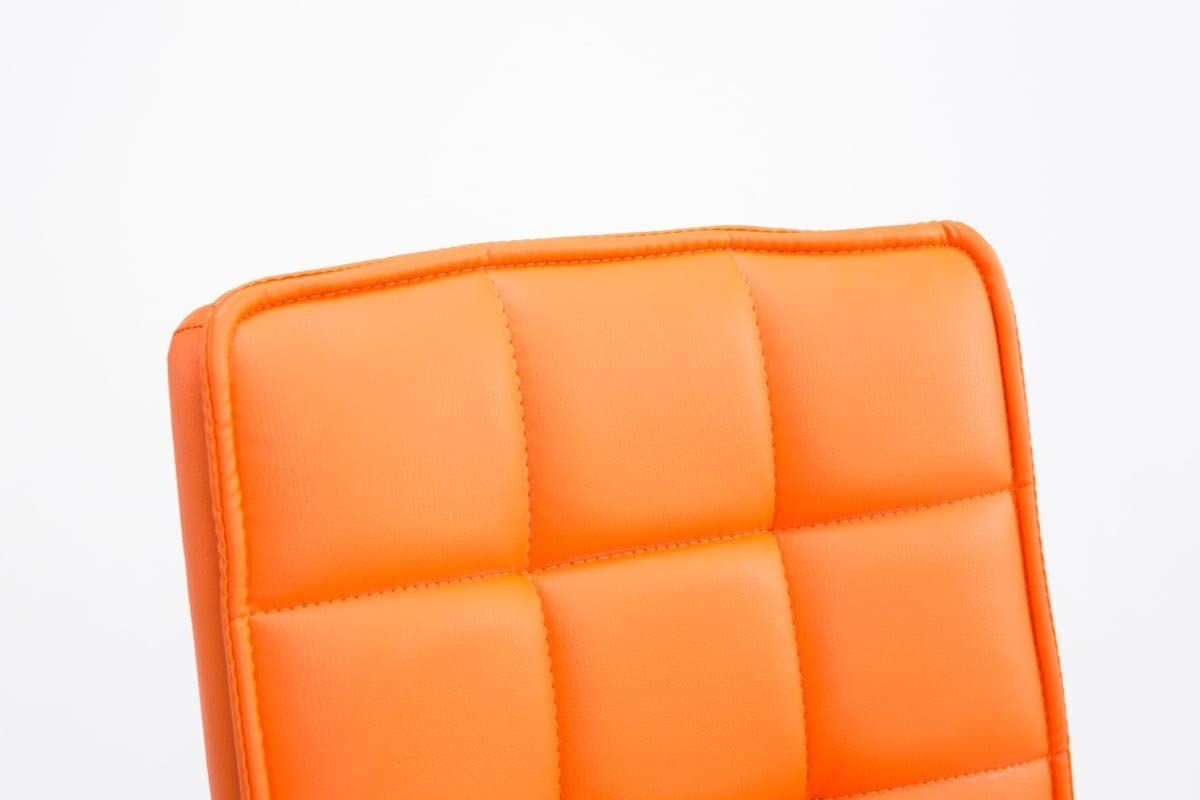 Sedia Poltrona Imbottita Girevole Schienale Alto e Senza Braccioli Arancione CLP Sedie Design Peking V2 Similpelle Sedia Sala Pranzo Regolabile 40-54cm