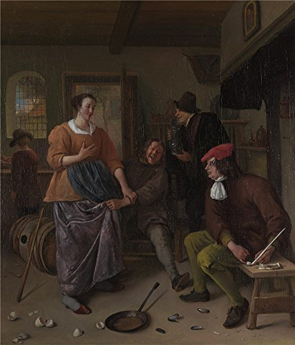 (Oil Painting 'Jan Steen The Interior Of An Inn (The Broken Eggs) ' Printing On Polyster Canvas , 12 X 14 Inch / 30 X 36 Cm ,the Best Kids Room Decor And Home Artwork And Gifts Is This Best Price Art Decorative Canvas Prints)